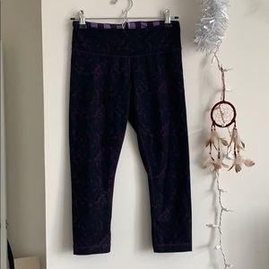 Lululemon patterned purple cropped leggings